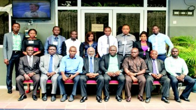 Group photograph of participants and facilitators at the training programme for PharmacyPlus Ltd, held from 4 – 7 April, 2016, at Solab Hotels & Suites in Ikeja, Lagos. (Seated, L-R); Mr Joel Omikunle, business manager, Pharmanews Ltd; Barr. (Pharm.) Layi Abidoye, a facilitator; Pharm. Joseph James, country manager, PharmacyPlus Ltd; Sir Ifeanyi Atueyi, publisher, Pharmanews Ltd/executive chairman, Pharmanews-WhiteTulip training; Mr Obinna Emecheta, area sales manager, PharmacyPlus Ltd; Pharm. Albert Udoh, a facilitator; Mr Adekola Adediran, business development manager, Pharmanews-WhiteTulip training, and; Pharm. Yemi Ilori, regional sales manager, PharmacyPlus Ltd.