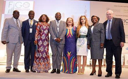Dr. Latoundji Mohamed Chakirou, President of GIRAF, Republic of Benin, Prof. Oladapo Ashoru, President of the Africa Fertility Society, Nigeria, Hon. Zuliatu Cooper, Minister of Health & Sanitation, Republic of Sierra Leone, Hon. Dr. Chitalu Chilufya, Minister of Health, Republic of Zambia, Hon. Margaret Mensah-Williams, Chairperson of the National Council, Republic of Namibia, Dr. Rasha Kelej, CEO Merck Foundation, Hon. Sarah Achieng Opendi, Minister of State of Health, Republic of Uganda, and Dr. Joe-Leigh Simpson, Professor of Human and Molecular Genetics/ Professor of Obstetrics and Gynecology at Florida International University