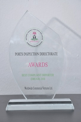 World Wide Commercial Ventures Ltd., recently received the 2018 Best Compliant Pharmaceutical Importer Award, by the National Agency for Food Administration and Control (NAFDAC).