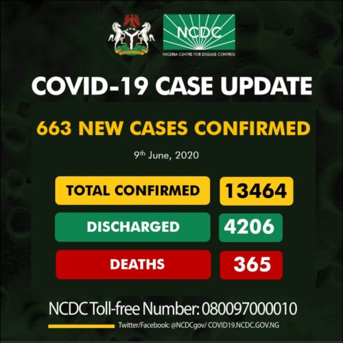 Nigeria Records 663 New Cases Of COVID-19, Total Now 13464